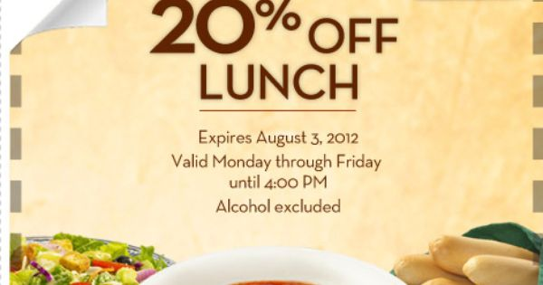 Olive Garden 20 Off Your Entire Lunch Bill Olive Garden Coupons Olive Gardens And Olives