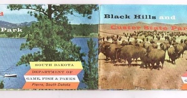 South dakota map black hills custer state park 1960 39 s vtg for South dakota game and fish