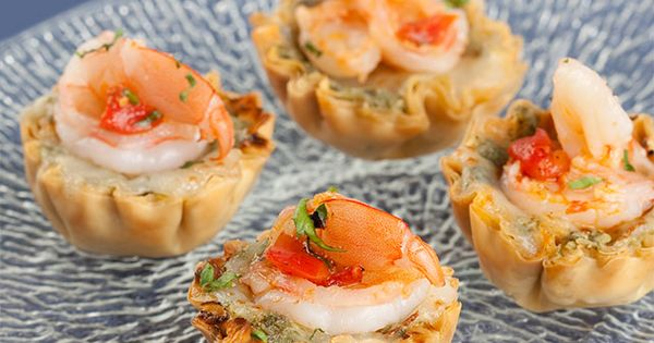 Mini Shrimp Phyllo Cups With Dill Pesto And Feta Recipe — Dishmaps