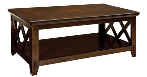 Hardwood coffee table with lattice detailing and a bottom for Revamp coffee table
