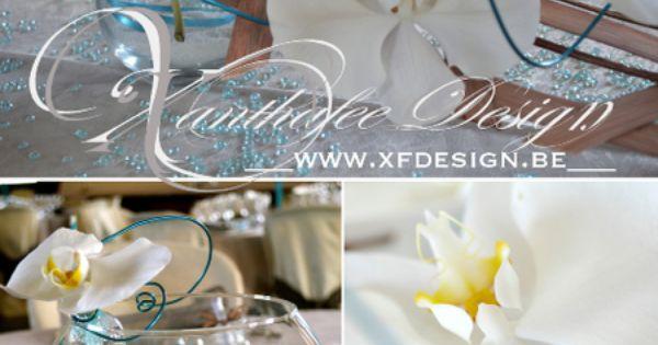 du voyage. Code couleur: blanc, turquoise et chocolat. Centre de table ...