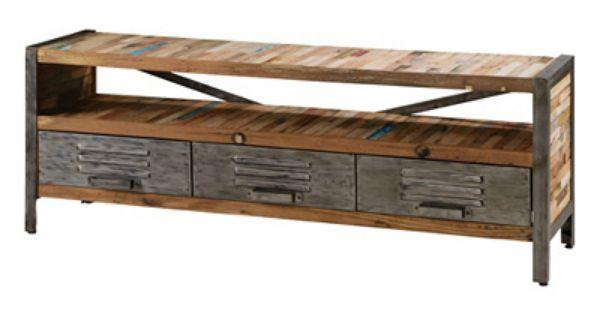 Esprit industriel meuble tv besi meubles zago meuble for Catalogue de meuble en bois
