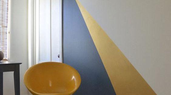 daphnedecordesign la peinture graphique pour sublimer vos murs chambre jaune et bleue bureau. Black Bedroom Furniture Sets. Home Design Ideas