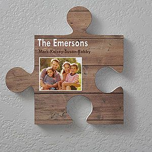 Name Photo Personalized Puzzle Piece Wall Decor Wood Textures Wall Puzzle Rustic Wall Decor Puzzle Picture Frame