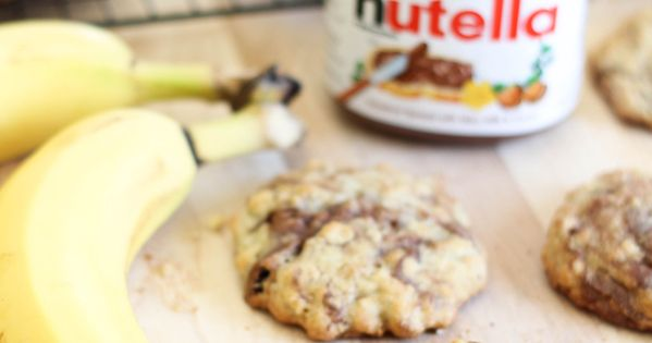 Nutella Banana Cookies! I subbed nutella for peanut butter and some cocoa