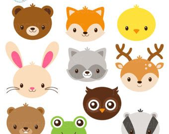Animal Train Clipart Set Clip Art Set Of Animals Train Baby Animal Train Safari Personal Use Small Commercial Use Instant Download In 2021 Animal Faces Woodland Animals Animals Wild