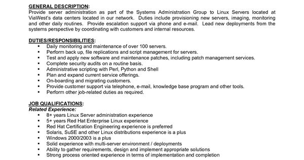 Sample Resume System Administrator Job Sle Description Pravin