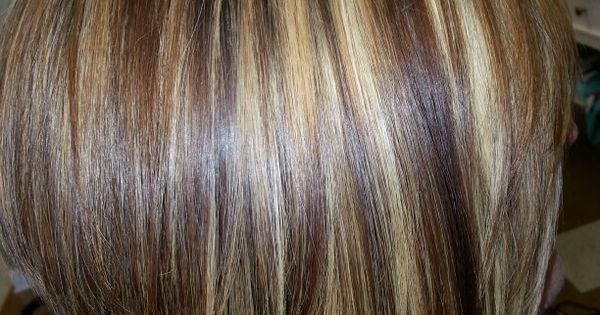 Inverted Bob, chunky highlights warm Brown lowlites. By #