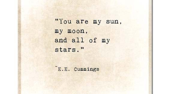 Moon And Stars Quotes: Moon Sun Stars EE Cummings Gold Golden Quote Typography