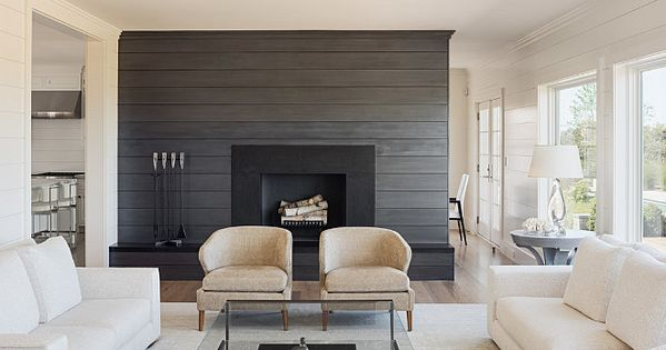 Living room with shiplap wall painted in a charcoal gray for Images of rooms with shiplap
