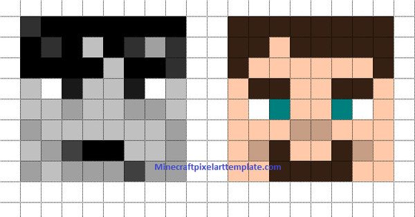Minecraft pixel art templates pixelated art pinterest for Minecraft skin template grid