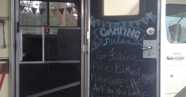 Chalkboard door for RV