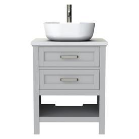Style Selections Cromlee 24 In Light Gray Single Sink Bathroom Vanity With Engineered White Stone Engineered Stone Top Lowes Com Bathroom Sink Vanity Single Sink Bathroom Vanity Bathroom Vanity