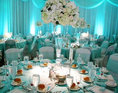 silver and tiffany blue wedding theme Soft blue lighting ...
