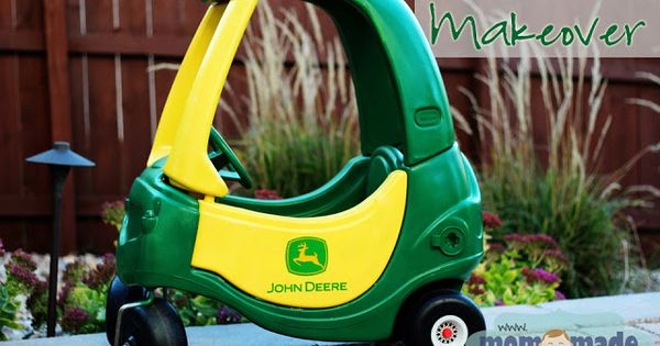 Little Tikes Cozy Coupe makeover to a John Deere tractor