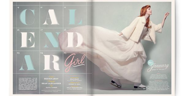 Editorial Calendar Design : Quot calendar girl editorial spreads for the winter spring