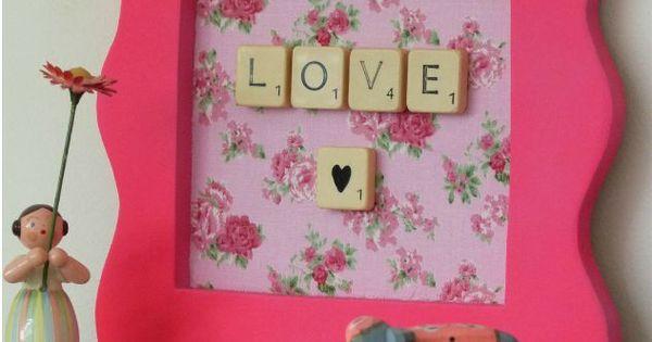 Cadre love lettres scrabble d co pinterest amour for Decoration murale scrabble
