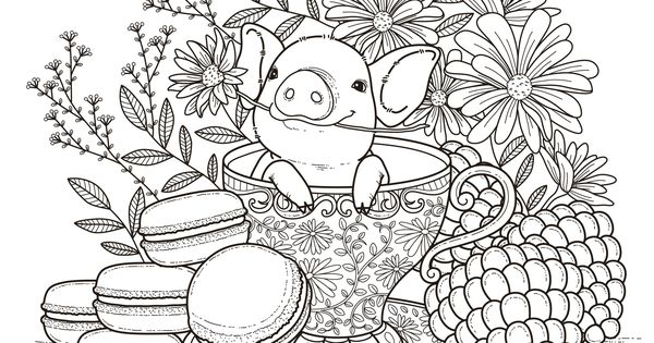 Pig in a Tea Cup Adult Coloring