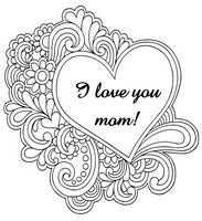 Adult Coloring Page I Love You Mom Heart Coloring Pages Mom