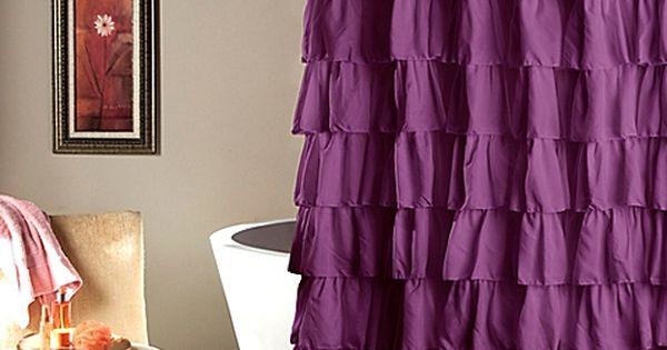 Ruffle Shower Curtain Ruffle Shower Curtains Shabby Chic Bathroom Purple Shower Curtain