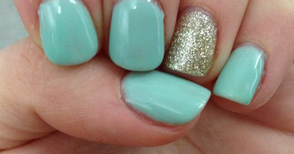 mint green and glitter  shellac  nails