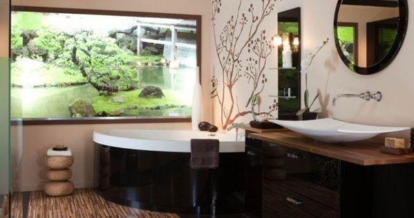 Salle de bains japonaise id maison salle de bains pinterest beautiful d coration et salons - Decoration salle de bain japonaise ...