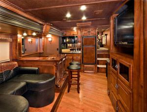 This Is The Living Quarters Of A Horse Trailer Wow Horse Trailer Living Quarters Horse Trailers Horse Trailers For Sale