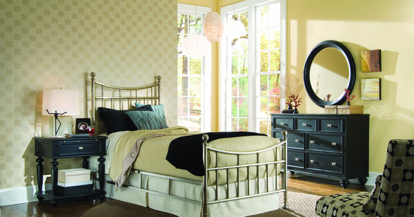 Brushed Nickel King Size Headboard: Camden Black Bedroom
