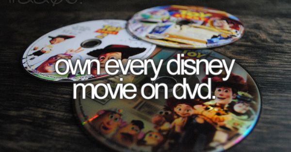 Bucket List: Own every Disney movie on dvd. Or Blu-ray, whichever one