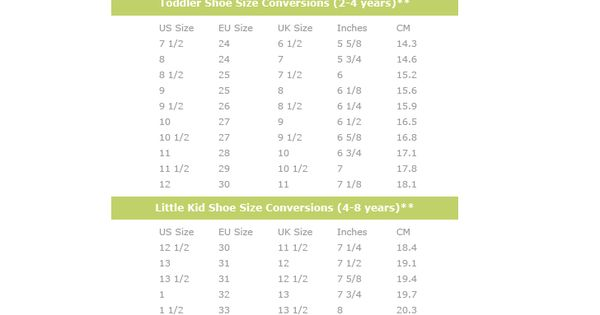 shoe size conversion chart includes big to