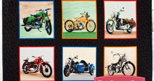 Vintage Motorcycles Black Showcase Quilt Panel Sku 60537