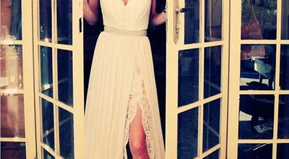 Romantic boho chiffon and lace underlay slit wedding dress. Possibly a reception