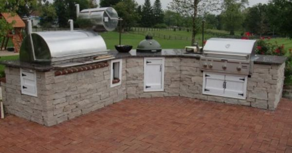 Kitchen With Smoker Green Egg Sink And Grill Diy Outdoor Kitchen Outdoor Kitchen Outdoor Kitchen Plans