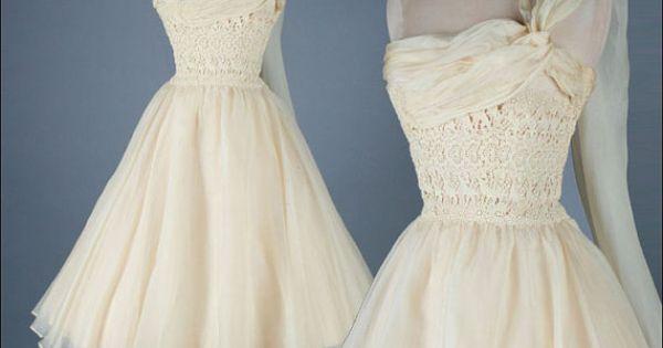 Vintage 1950s dress carlye ivory organza par for Magasins de robe de mariage portland oregon