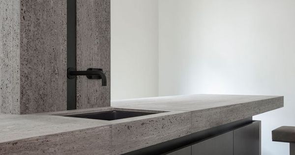 Kitchen by Glenn Sestig and Obumex in Iranian titanium travertine  Kitchen Interiors ...