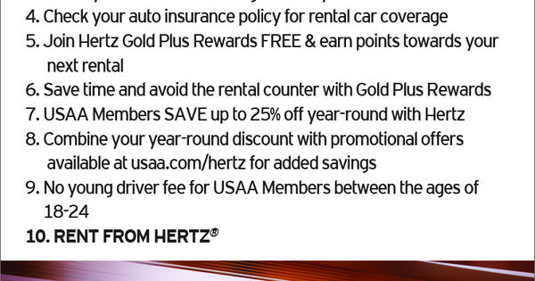 10 Car Rental Tips From Hertz Visit Usaa Com Hertz Usaatravel