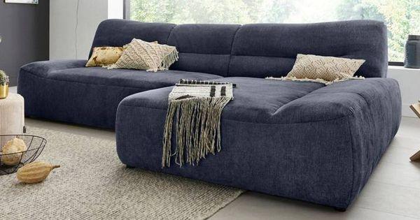 Domo Collection Ecksofa Blau Dunkelblau Sofa Couch Furniture