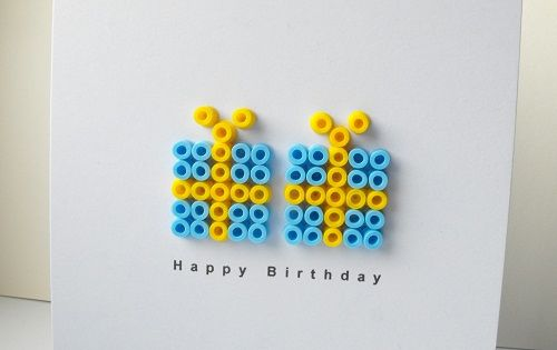 Birthday card w/ ironing beads