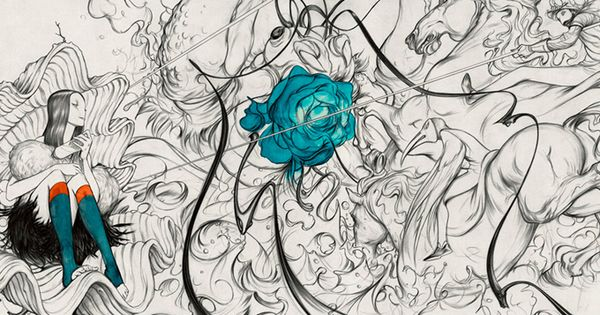 Mural wallpaper for Prada store in Soho by illustrator James jean.the complete