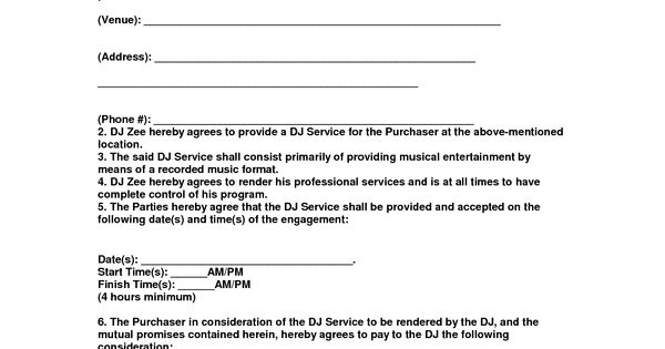 Entertainment Contract Agreement Images - D J Contracts