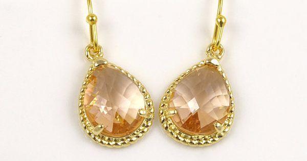 Peach <b>Earrings</b> Dangle <b>Earrings</b> Gold Drop <b>Earrings</b> by ...