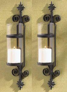2 Black Fleur De Lis Candle Garden Wall Hurricane Sconces French Scroll Holder Wan Wall Candle Holders Candle Holder Wall Sconce Wall Mounted Candle Holders
