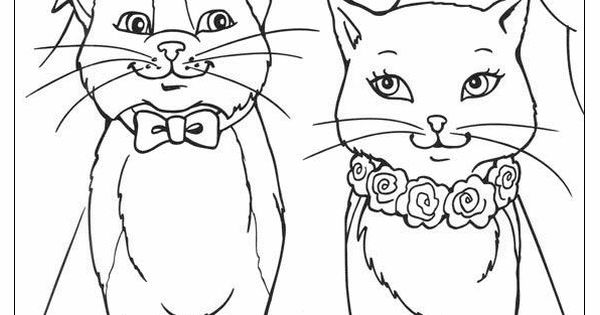 coloring book pages to print | Barbie Princess and Cat ...