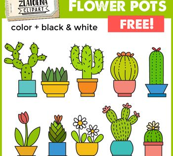 Flowers In Pots Clip Art Set Cactus Clipart Zlatoena Cliparts Clip Art Clip Art Freebies Cactus Clipart