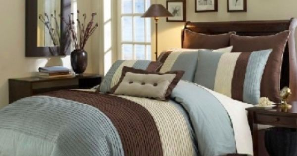 8pcs Light Blue Beige Brown Luxury Stripe Duvet Cover Set