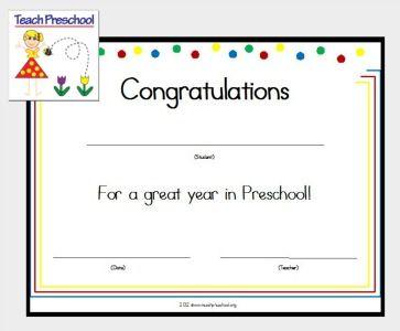 Preschool Award Or Certificate Of Congratulations From Deb Of