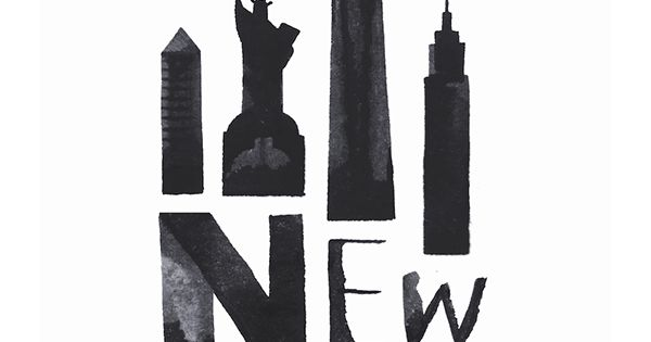 Calligraphy representations of famous landmarks buildings
