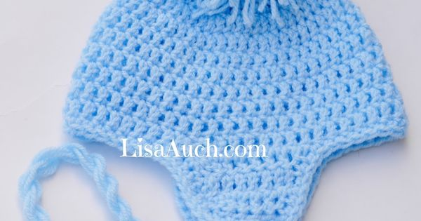 Crochet Baby Hat With Ties Pattern : Free Crochet Baby Hat Pattern with Earflaps and ties ...
