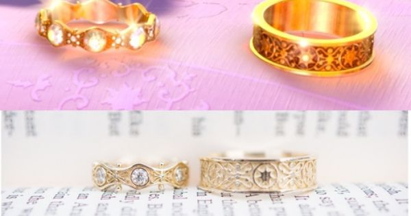 A Couple Commissioned Replicas Of Rapunzel And Flynn S Wedding Rings From Tangled Disney Wedding Rings Unique Engagement Rings Rose Gold Tangled Wedding