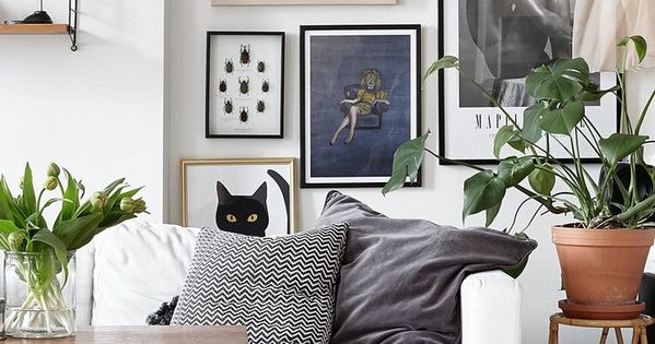 Split level studio apartment white sofas gallery wall - Amenagement petit salon ...